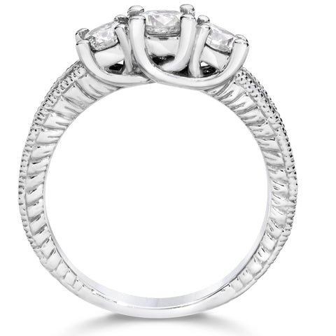 1 1/4ct Vintage 3 Stone Round Diamond Engagement Ring 14K White Gold