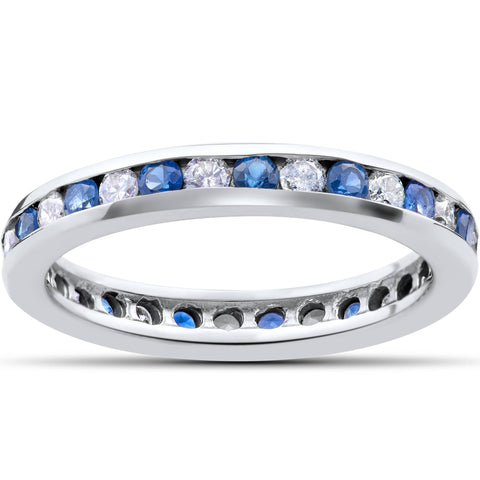 1 Ct Blue Sapphire & Diamond Channel Set Eternity Wedding Ring 14K White Gold