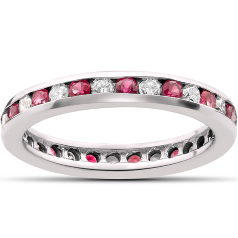 Ruby Diamond Eternity Ring 1 1/2ct Channel Set 14K White Gold Stackble Band