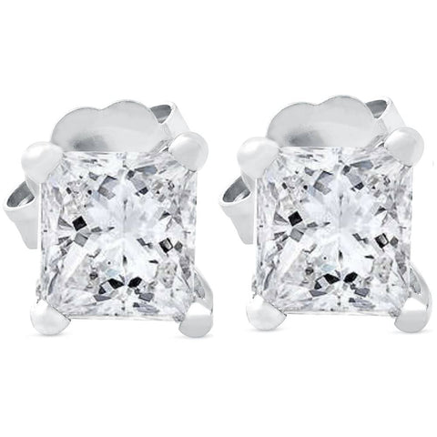 G/SI .65 ct Princess Cut Diamond Studs 14k White Gold Enhanced