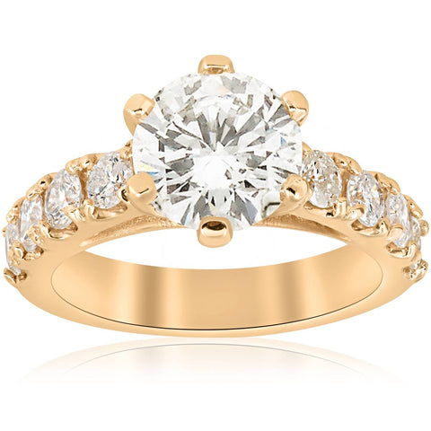 Huge 4 1/2ct Diamond Engagement Ring 14k Yellow Gold Round Cut Jewelry Enhanced