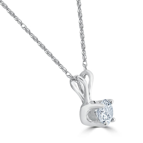 1/4ct Solitaire Diamond Pendant Necklace 14K White Gold