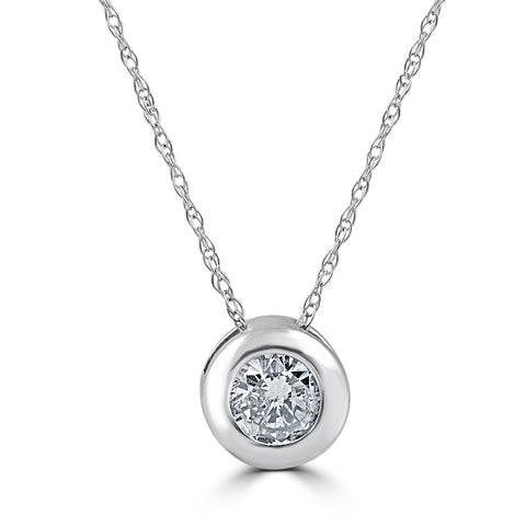 5/8ct Round Bezel Solitaire Real Diamond Pendant 14K White Gold
