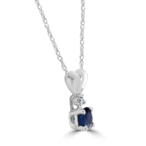 1/2Ct Synthetic Blue Sapphire & Natural Diamond Solitaire Pendant 14K White Gold