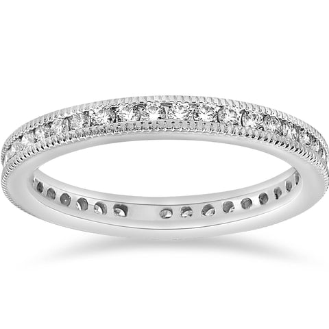 VS 1/2ct Diamond Stackable Wedding Eternity Ring Channel Set Milgrain 14K SZ 6