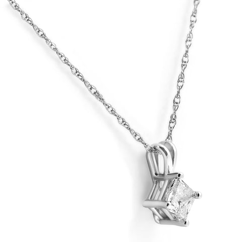 "G/SI 1ct Princess Cut Enhanced Diamond Solitaire Pendant White Gold & 18"" Chain"