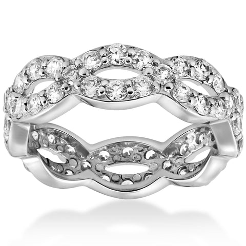 1 Cttw Real Diamond Infinity Eternity Wedding Anniversary Ring 14K White Gold
