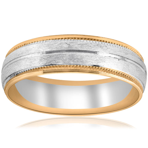 14k Yellow & White Gold Two Tone 6mm Facet Cut Wedding Band Mens Ring