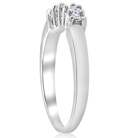 1/2ct Princess Cut Diamond Curved Wedding Ring Enhancer 14K White Gold