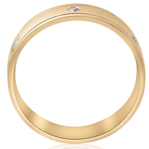 Mens 14K Yellow Gold Diamond Comfort Fit High Polished Wedding Band 6mm Ring
