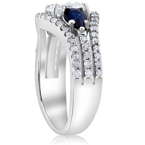 2 1/2ct Oval Diamond Pear Blue Sapphire Halo Engagement 3Row Ring 14K White Gold