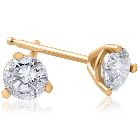 1/5ct Round Genuine Diamond Martini Studs 14K Yellow Gold