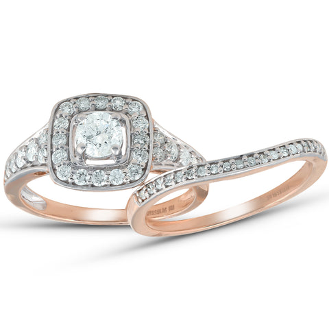1 ct Cushion Halo Diamond Engagement Ring 10k Rose Gold Wedding Band Set
