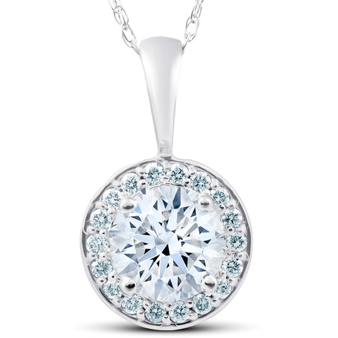 G/VS 1.25 Ct Diamond Halo Pendant 14k White Gold
