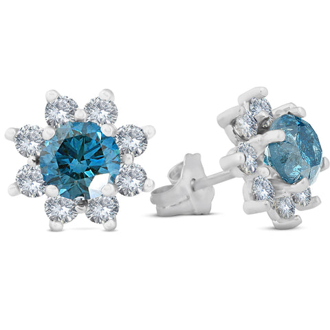 2 Ct Blue Diamond Halo Studs 14K White Gold Womens Earrings