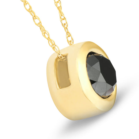 1 1/10ct Black Diamond Bezel Solitaire Pendant 14K Yellow Gold