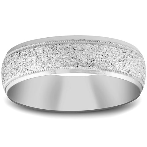 10K White Gold 6mm Textured Mens Wedding Band