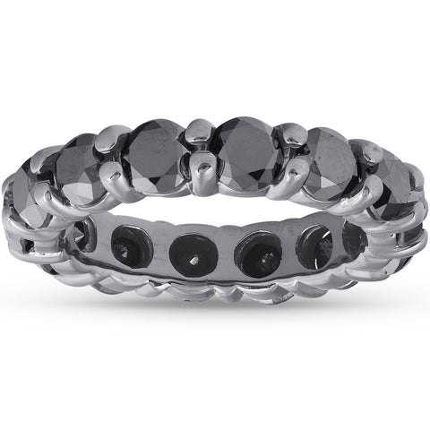 3 1/2CTTW Black Diamond & Black Gold Womens Eternity Stackable Ring