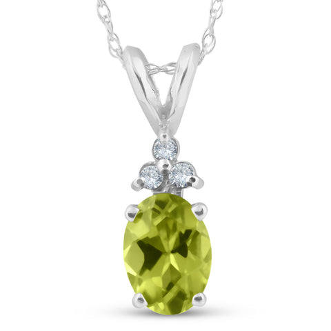 "5/8ct Oval Peridot & Diamond Solitaire Pendant 14K White Gold With 18"" Chain"