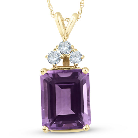 14K Yellow Gold 7 1/8ct Amethyst & Diamond Solitaire Pendant