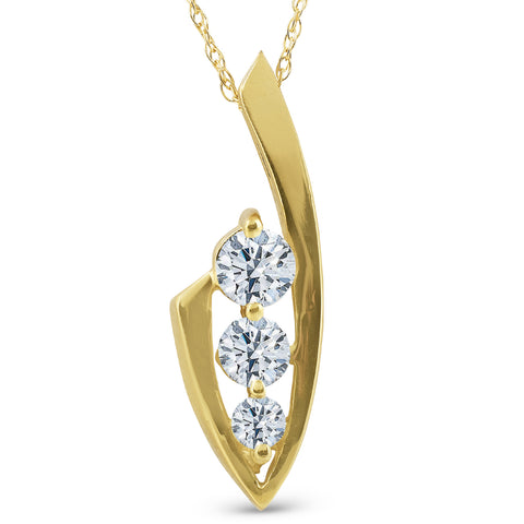 1/2ct Three Stone Diamond 14k Yellow Gold Pendant Necklace