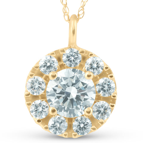 14K Yellow Gold 1 1/2ct Circle Round Diamond Pendant Necklace Enhanced