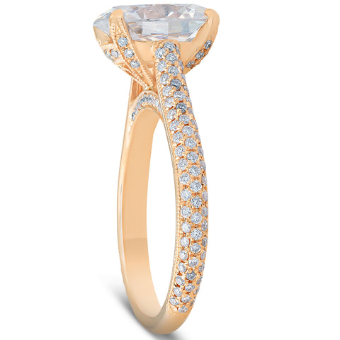 F/VS 2.68CT 18k Yellow Gold Micropave Diamond & Oval Moissanite Engagement Ring