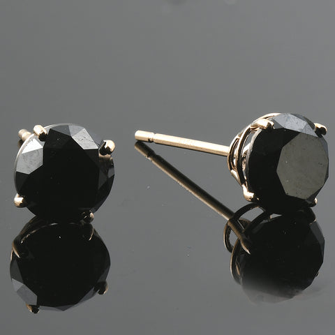 2 1/4Ct Black Diamond Studs 14k Yellow Gold Earrings