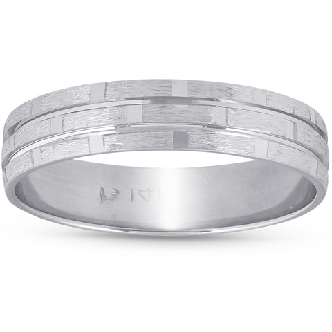 5MM Mens Hand Carved Brushed Wedding Band 14k White Gold