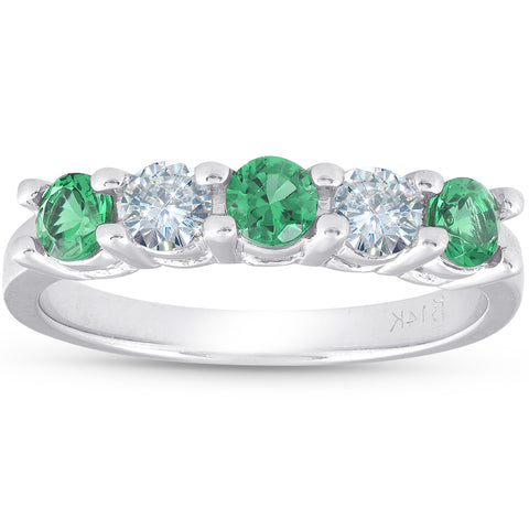 3/4ct Simluated Emerald & Diamond 5-Stone Wedding Ring 14K White Gold