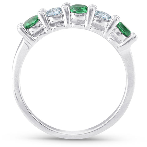3/4ct Simluated Emerald & Diamond 5-Stone Wedding Band Ring Solid 14K White Gold