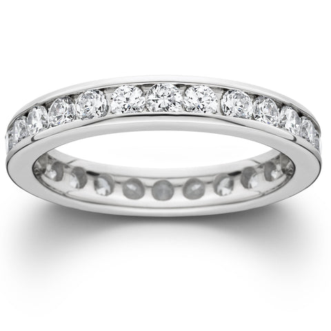 1 1/2ct Channel Set Diamond Eternity Ring 950 Palladium Womens Stackable Band