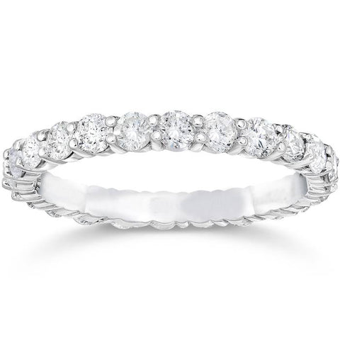 1 1/2ct 14k White Gold Diamond Women Eternity Anniversary Stackable Wedding Ring