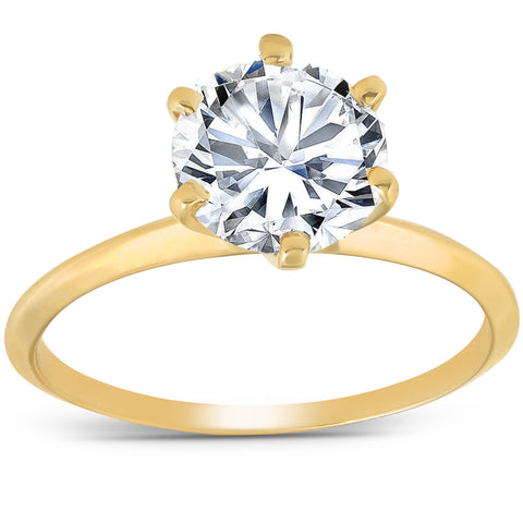 2 Ct Round Solitaire Diamond Engagement Ring 14k Yellow Gold Enhanced 6 Prong