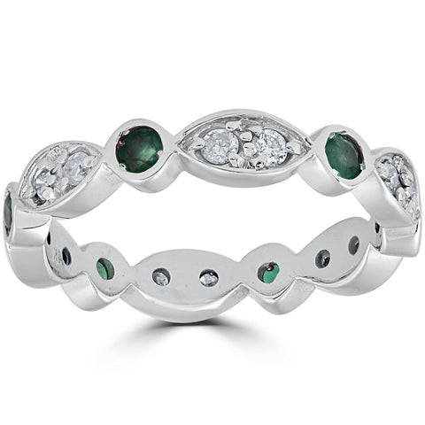 1ct Diamond & Simulated Green Emerald Vintage Eternity Ring 14K White Gold