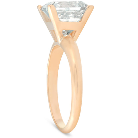 5.06ct Princess Cut H/SI Solitaire Diamond Engagement Ring Yellow Gold Enhanced