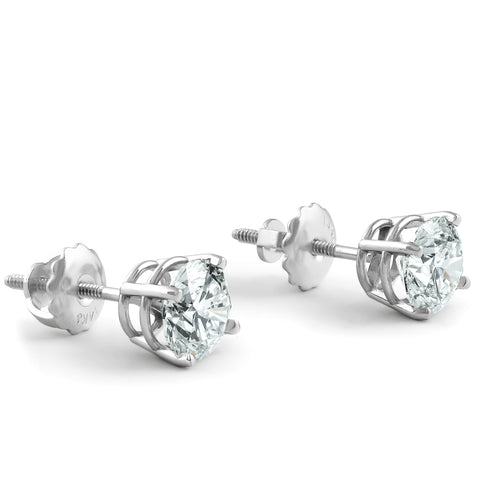 I/VS 2 Ct Diamond Screw Back Studs 14k White Gold Lab Grown Eco Friendly