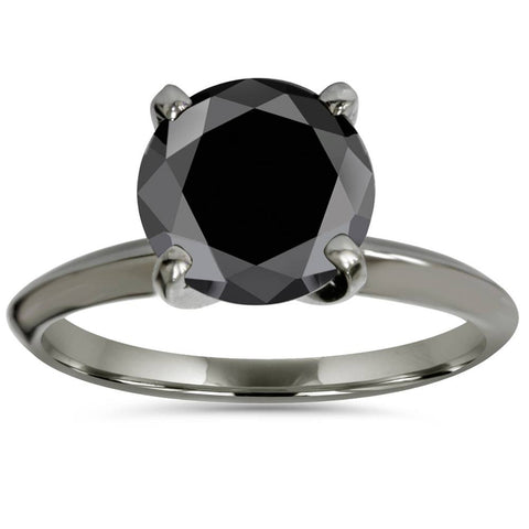 2ct Treated Black Solitaire AAA Round Engagement Ring 14k Black Gold