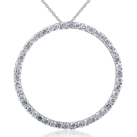 Large 2 ct circle eternity 14k white gold diamond pendant 18 large 2 ct circle eternity 14k white gold diamond pendant 18 chain jewelry mozeypictures Image collections