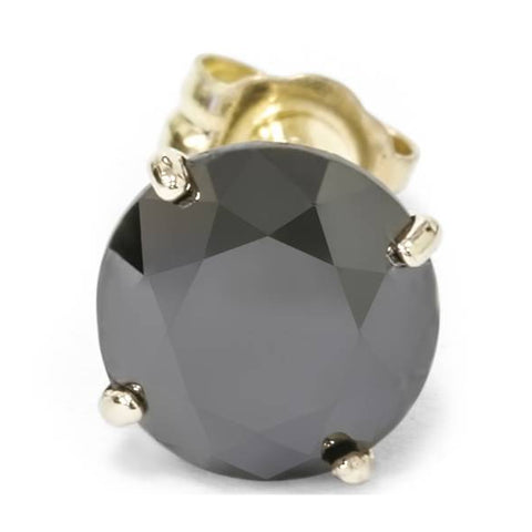2ct  Black Diamond Single Stud Solid 14K Yellow Gold