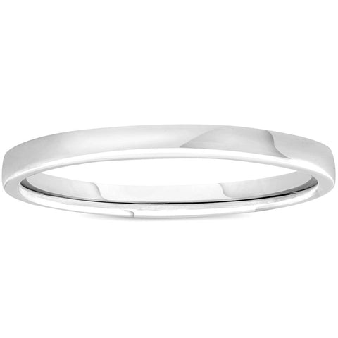 2mm Plain Polished Platinum Comfort Wedding Band
