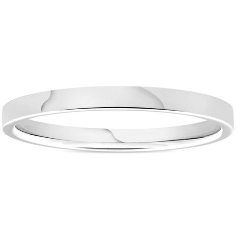 950 Platinum 2mm Flat Comfort Fit Wedding Band Ring