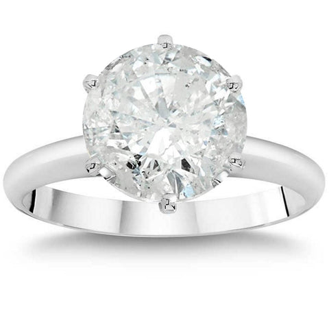 2 1/4 Ct TDW Solitaire Round Diamond 6-Prong Engagement Ring White Gold Enhanced