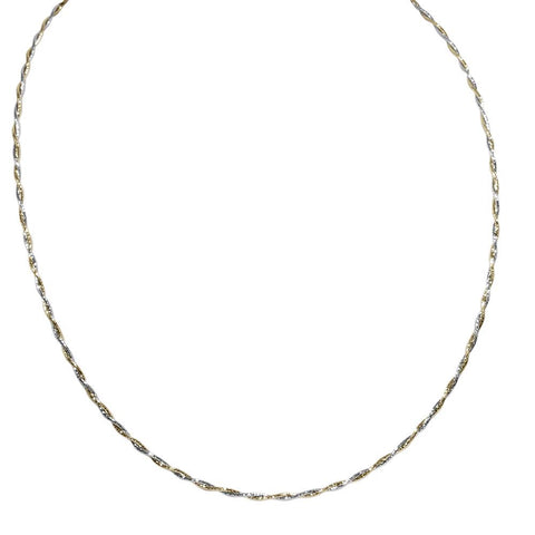 14K White & Yellow Gold Two Tone Twisted Spring Wire Necklace 16""