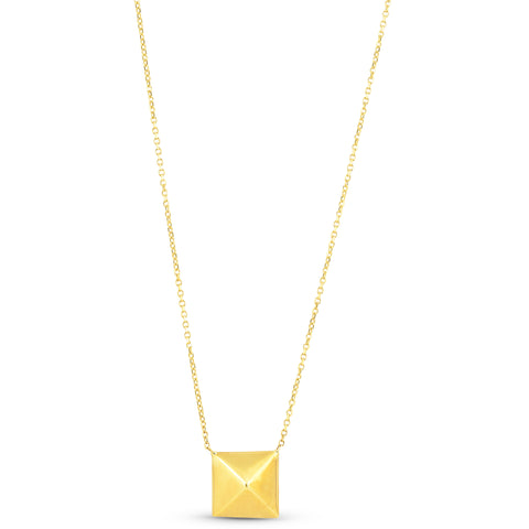 "Solid 14k Yellow Gold Pyramid Pendant Womens Fashion Necklace 18"" With Jumper"