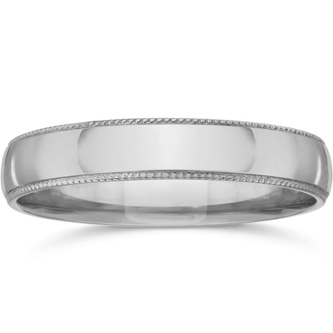Milgrain Wedding Band 14K White Gold