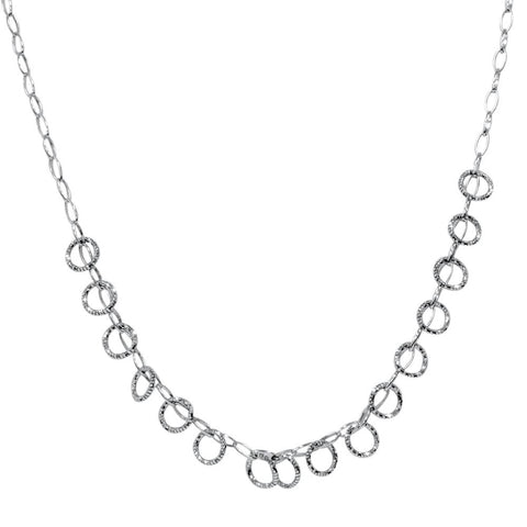 "18"" 14K White Gold Italian Handmade Circle Dangle Womens Necklace 4.3 Grams"