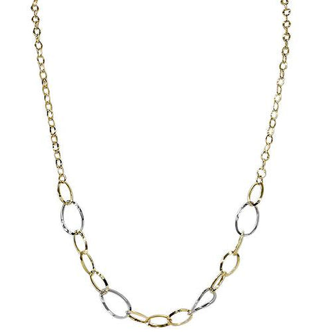 "20"" 14K White & Yellow Gold Two Tone Chain Necklace"