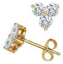 1.00Ct Three Stone Diamond Studs Yellow Gold Earrings