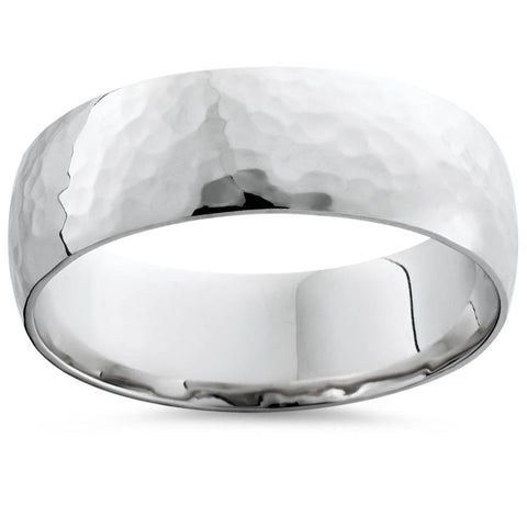Mens Hammered Platinum Wedding Band